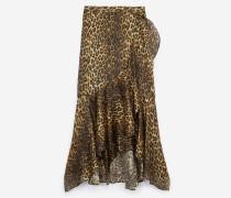 langer rock mit schlitz und leopardenmuster leo