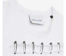 offenes baumwoll-t-shirt mit nadeln whi