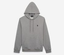 Baumwoll-Sweatshirt mit Totenkopf-Aufnäher