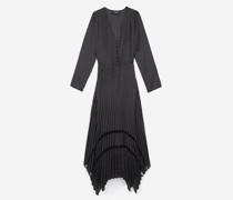 Langes bedrucktes Kleid mit Knöpfen vorne