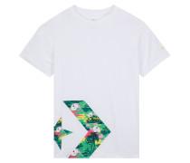 Star Chevron Floral Print Logo T-Shirt White