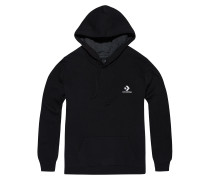 Star Chevron Embroidered Pullover Hoodie Black