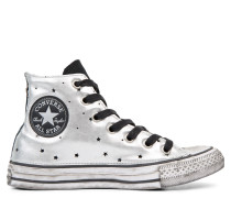 Chuck Taylor All Star Metallic Silver Star Leather High Top Black
