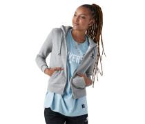 Women Star Chevron Embroidered Full Zip Hoodie Grey