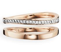 Ring 925/- Sterling Silber vergoldet Topas, 60