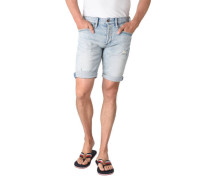 Jeans-Shorts, Used Look, Knopfleiste