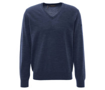 Pullover, Strick, Schurwolle, V-Ausschnitt, Ripp-Details,