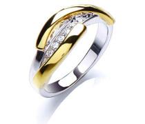 Ring rhodiniert und vergoldet mit Kristallen