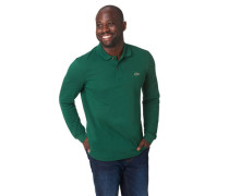 Poloshirt, Langarm, uni, Label-Patch