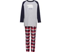 Schlafanzug mit Slogan und Plüschbär grau/blau 164