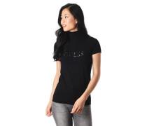 """T-Shirt """"Elena"""", 3D-Schriftzug, Rollkragen, Ripp-Struktur"""