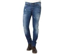 Jeans, Slim Fit, Destroyed-Look, Waschung, Falten