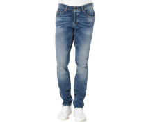Jeans, Slim Fit, Used-Look, Falten-Optik, Patch,