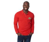 Poloshirt, Langarm, Marken-Patch, Piqué