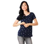 T-Shirt, Allover-Print, Rollsaum, Baumwolle