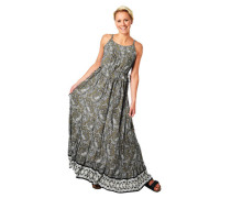 Maxikleid Volant-Saum Paisley-Muster Taillenband