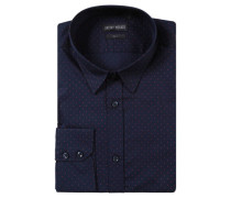 Businesshemd Slim Fit Kent-Kragen gepunktet Baumwolle