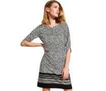 Kleid, Schlüsselloch-Ausschnitt, Zierperle, Allover-Muster, kurz,