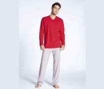 Schlafanzug, langarm, Brusttasche, V-Ausschnitt,