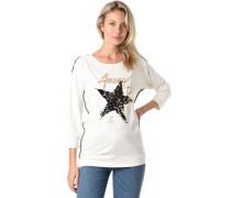 Shirt, 3/4-Arm, Wendepailletten, Paspel, dekorativer Print, für Damen, ,36