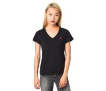 """T-Shirt """"Perfect Crew"""" V-Ausschnitt Logo-Aufnäher"""