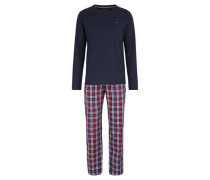 Schlafanzug, lang, Baumwolle, Stick-Logo, kariert