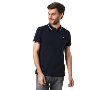 Poloshirt Kontrast-Streifen Stretch