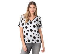 T-Shirt Punkte fließender Stoff Gummibund V-Ausschnitt