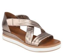 Sandalen Leder Metallic-Optik überkreuzte Riemen