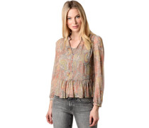 Bluse mit Topangarm, V-Ausschnitt, Paisley-Muster, Volant,