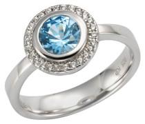 Ring, 925er  mit Zirkonia und synthetischem Blautops, 58