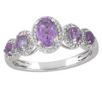 Diamant-Ring, Weißgold 585, Amethyst, zus. ca. 0,15 ct
