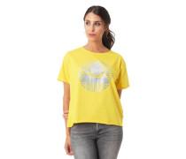 T-Shirt Loose Fit offener Saum glitzernder Print