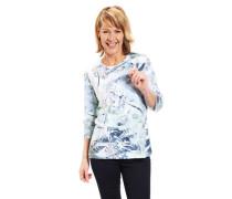 Shirt 3/4-Arm Rundhalsausschnitt Baumwoll-Mix floral