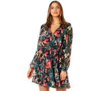 Kleid, Tropical-Print, transparente Ärmel,