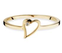 Ring 5/- Sterling Silber vergoldet Zirkonia Herz