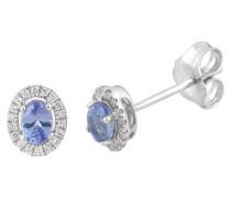 Diamant-Ohrstecker, Weißgold 585, Tansanit, zus. ca. 0,08 ct