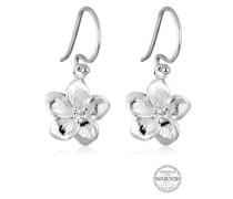 Ohrringe Frangipani Blüten Swarovski® Kristalle 5 Silber