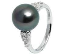 Ring 5 Weißgold mit 12 Diamanten zus. ca. 025 ct. und Tahiti-Zuchtperle  mm