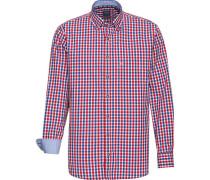 Trachtenhemd Casual 1/1-Arm Button Down modern fit /weiß/rot