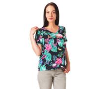 Blusenshirt tropischer Blumenprint Ärmel-Umschlag