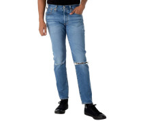 Jeans, Slim Fit, Destroyed-Effekt, Knopfleiste