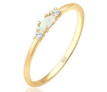 Ring Vintage Zirkonia Marquise Opal Pretty 5 Silber  mm