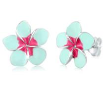 Ohrringe Frangipani Blüte Natur Blume Emaille 5 Silber
