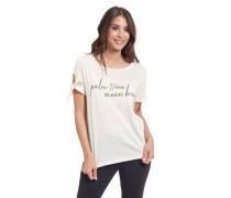 T-Shirt Baumwolle Front-Print Schleifen-Detail am Ärmel