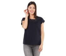 T-Shirt Flammgarn florale Lochspitze angeschnittene Ärmel