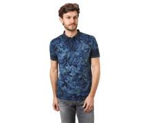 Poloshirt Tropical-Print seitliche Schlitze