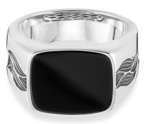 Ring 925/- Sterling Silber rhodiniert oxidiert Onyx, 62
