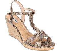 Sandalen, High-Heel Keilabsatz, Reptil-Optik, glänzend,