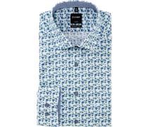 Businesshemd, 1/1 Arm, Haifischkragen, modern fit, gemustert, für Herren, /grün